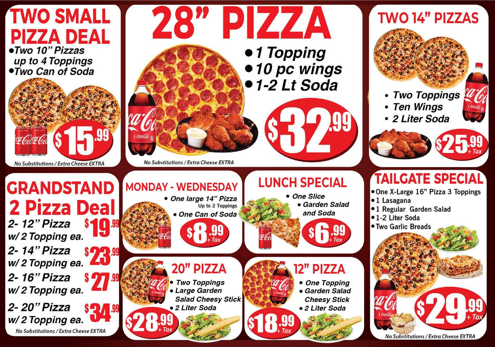 Grands Stand Pizza Specials